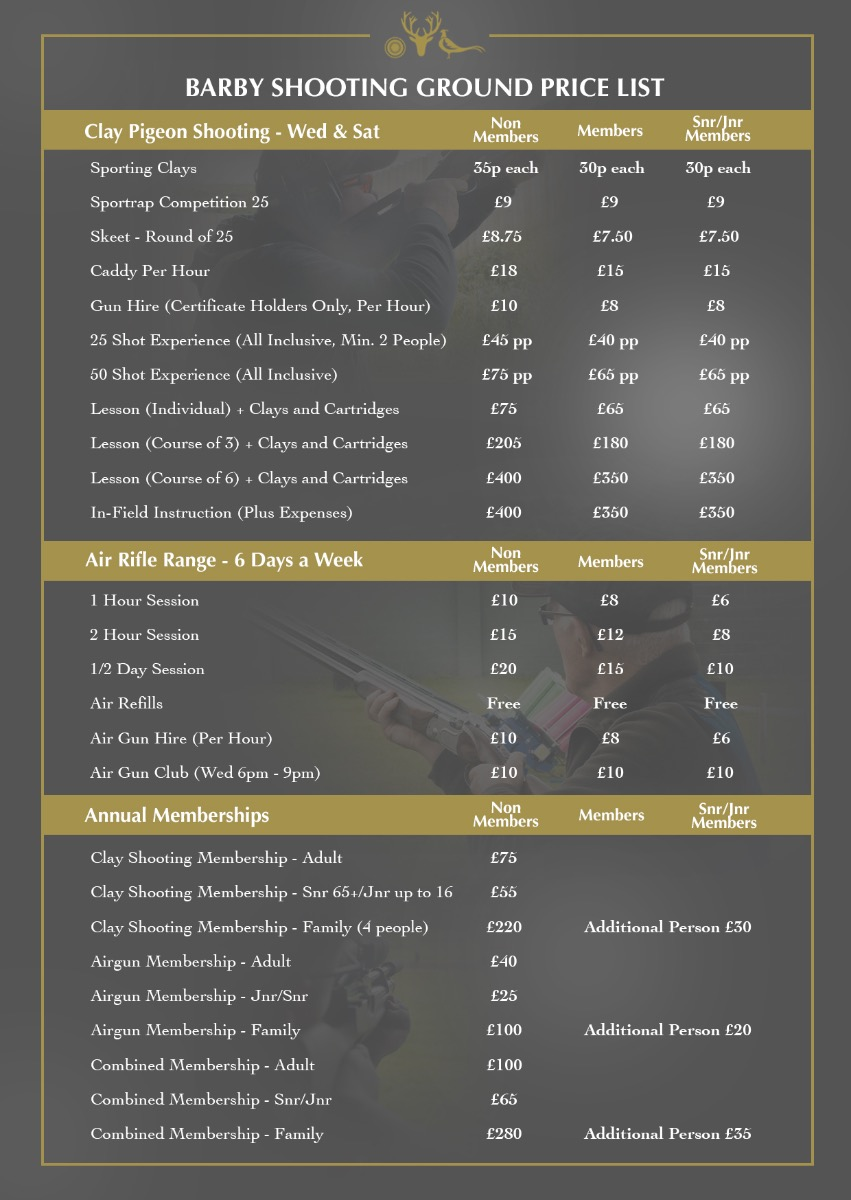 Barby Shooting Ground Price List